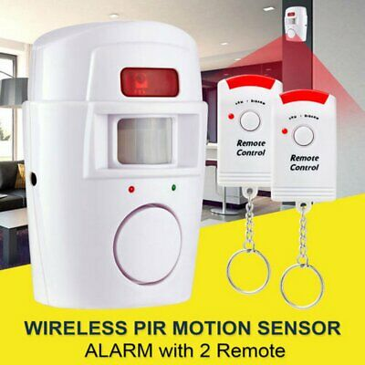 Wireless Pir Motion Sensor Alarm + 2 Remote Controls Shed Home Garage Caravan AX