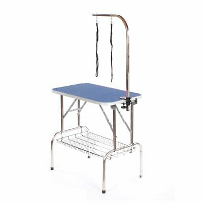Stainless steel dog grooming table large portable mobile pet blue by Pedigroom