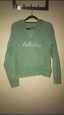Authentic Adidas Women's Hoodie Jumper Size 10 - GREEN