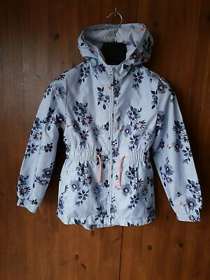 GEORGE CAGOULE COAT JACKET Blue Floral Lined Anorak Parka 9-10 Years - VGC