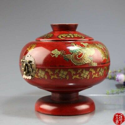 Chinese old Red wooden dragon and phoenix box