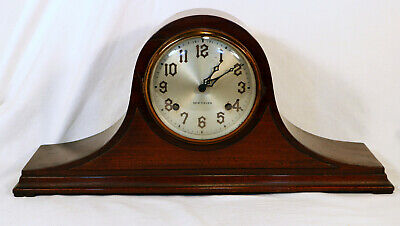 New Haven Cathedral Gong Mantel Tambour Clock Wind Up Duo Strike Pendulum