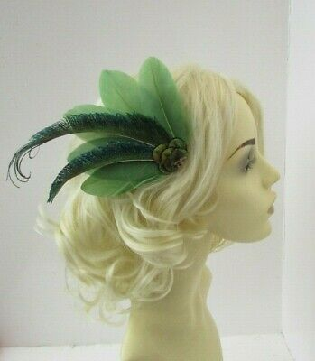 Olive Moss Green Peacock Feather Fascinator Hair Clip Races Cocktail 1920s 7856