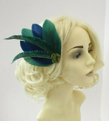 Navy Blue Dark Bottle Green Peacock Feather Fascinator Hair Clip Races 1920 7858