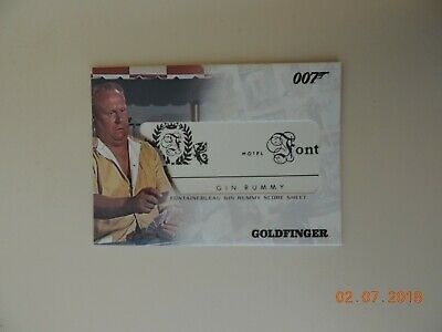 James Bond The Complete Relic Card RC10 Fontainebleau Gin Rummy Score Sheet