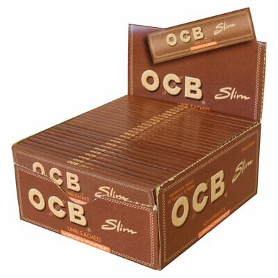 OCB Virgin Unbleached King Size Rolling Papers 50 Booklets FULL BOX SLIM