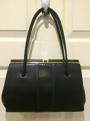 Vintage 1950'S Navy Leather Handbag