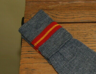 ADULT Sz 7-8 Vintage 80% Wool Grey with Red/Yellow/Red Trim School Knee Socks