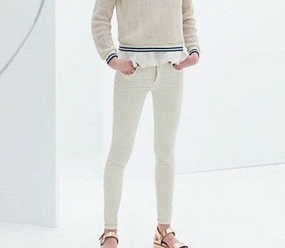Zara Women Cream Skinny Trousers Jeans Size 8 S New With Tag