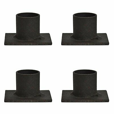 "Primitive Black Rustic Iron Taper Candle Holder Set of 4 - 2"" long"
