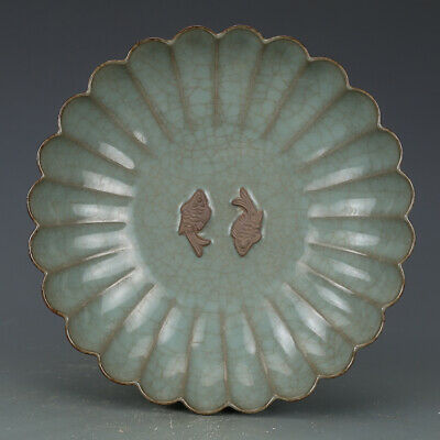 """Old Chinese Porcelain song guan kiln cyan glaze carved Double fish plate 9.4"""""""