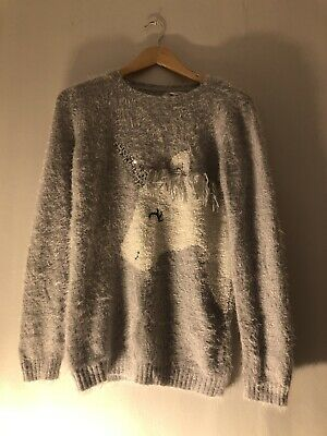 Girls Jumper age 14-15 Primark purple with unicorn <Z2076