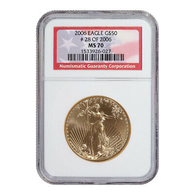 Certified American $50 Gold Eagle 2006 MS70 NGC #28 of 2006