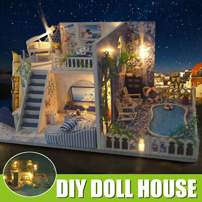 DIY Dolls House Handcraft Miniature Kit Light Furniture Kids Toy Gifts