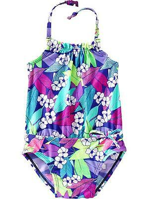 NWT Old Navy Girls Floral Print Halter Swimsuit 18-24 Months One-piece