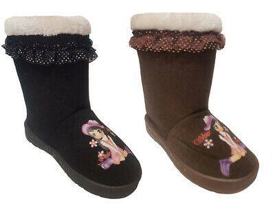 Kids Childrens Girls Snugg Warm Winter Ankle Faux Fur Lined Shoes Boots Sz 13-5