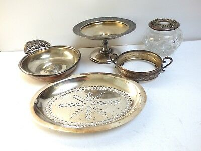 Lot Of Silver Plate Victorian Compote Holder Glass Jar Repousse Cover Insert