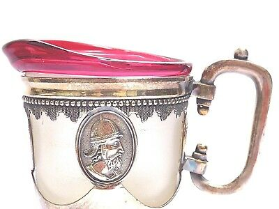 Superb Cameo Creamer Roman Medallion Silverplate  Pitcher Original Glass Insert