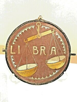 """Rare antique Stained Glass Panel """" LIBRA"""""""