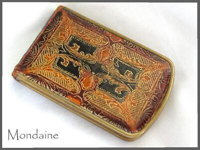 Vintage MONDAINE Art Deco Leather Compact with original powder makeup