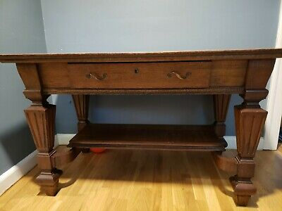 """Antique Oak Library Table - 48"""" wide x 30"""" Deep x 29"""" Tall"""