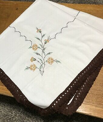 """Vintage Mid-Century Hand Embroidered Fringed Fall Floral Tablecloth 54"""" Square"""