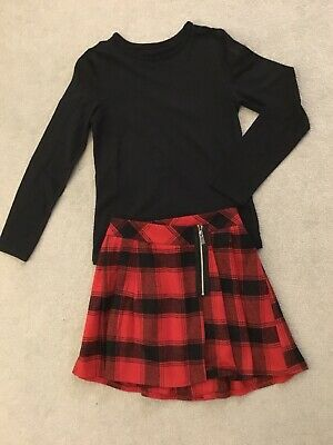 Girls Black And Red Kilt And Black Top (George/Next) Age