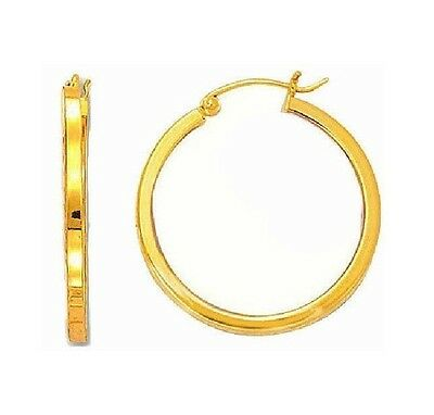 Genuine 14k Yellow Gold Oval Polished Hoop Earring 17x2mm