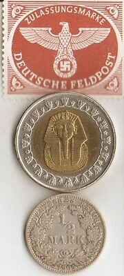 *stamp of SPAINS *dictator *gen.FRANCO+*WW2-*german SILVER coins+'TUT' coin