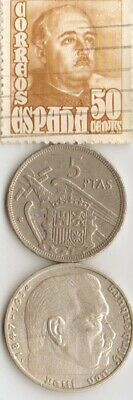 stamp of SPAINS *dictator *gen.FRANCO+*WW2-*german SILVER coins+'TUT' coin