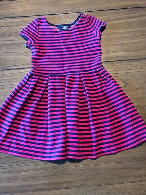 polo ralph lauren girls dress size 6X Navy And Pink Striped Short Sleeve Pleated