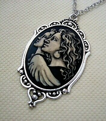 ANGEL MOTHER DAUGHTER SISTERS CAMEO SILVER PENDANT NECKLACE Friends Family Gift