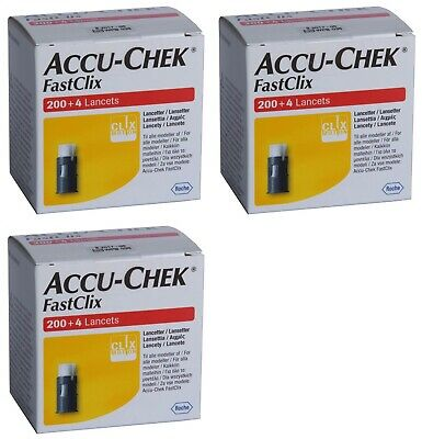 3 x Pack Accu-Chek Fastclix 204 Lancets (612 Lancets) Blood Test NEW & SEALED