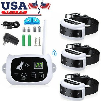 Wireless Electric Pet Dog Fence Containment System Transmitter Collar Waterproof