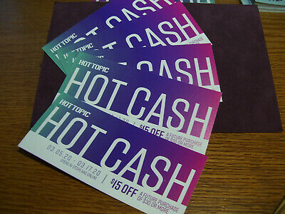 5 Hot Topic Hot Cash Hottopic.com $15 off $30 1/16 To 1/26 CODES EMAILED Lot 5