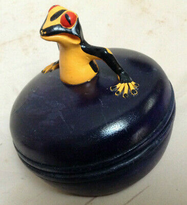 Wood Box With Frog Top Thailand (funny frog see interior) Trinket Box