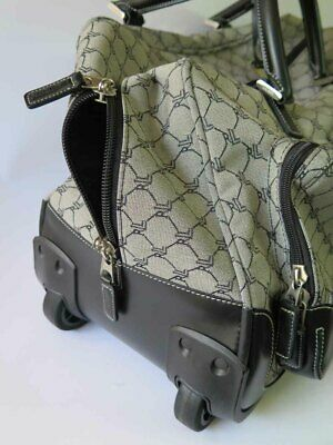 RALPH LAUREN Signature Jacquard Leather Rolling Duffle Carry On / Luggage Bag