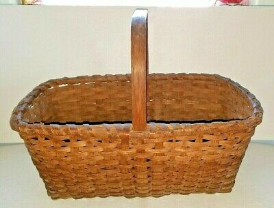 Antique Primitive Shaker Harvest Pantry Basket Splint Wood Oak or Ash  - AAFA