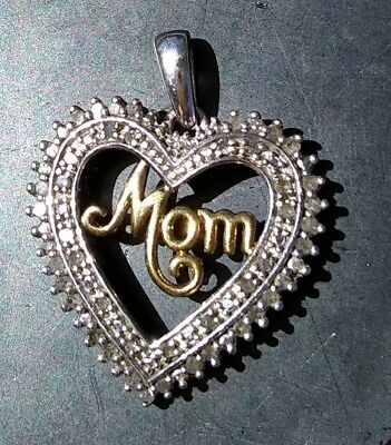 925 Sterling Silver Heart Mom Pendant with Diamonds- tested- beautiful