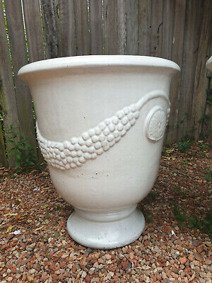 White glazed outdoor pots - Large - 2 available