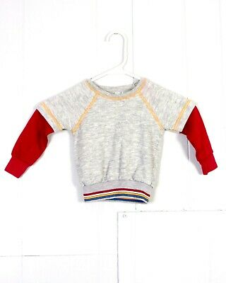 vtg 70s JC Penney Penneypet Layered Style Sweatshirt Gray Red Ringer Striped 2T