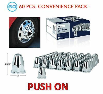 "(Set/60) Chrome Bullet Lug Nut Covers 33mm Push-On (2-5/8"" Tall) 60-Pack"