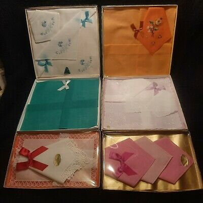 6 various boxes of ladies vintage handkerchiefs hankies old but NEW condition