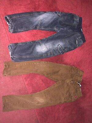 Boys Thick Lined Jeans M&s Brown Trousers Next 5-6 Years