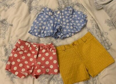 3 Pairs Of Girl's Shorts Mini Boden Vilma & Bosco 4 Years Mustard Blue Red