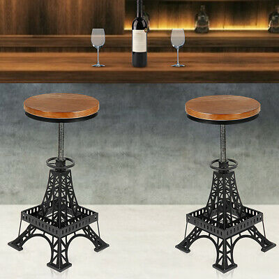 2x Bar Stool Swivel Chair Industrial Wooden Top Adjustable Height Chair Seat