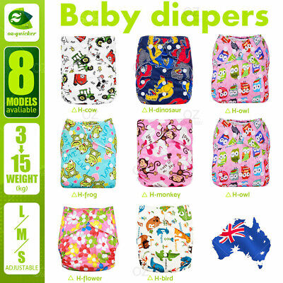 Baby Cloth Nappies Reusable diapers cover Printing Color Adjustable 3-15KG
