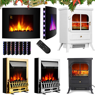Modern Electric Fireplace Fire Heater Living Room LED Flame Effect Stove Heater