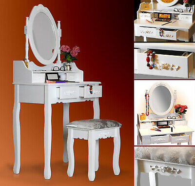 Dressing table with mirror and stool Jewelry Makeup Desk Wood