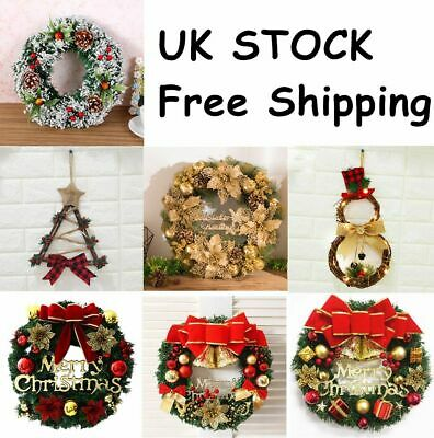 Christmas Wreath Door Wall Hanging Garland Ornament Xmas Home Holiday Decoration